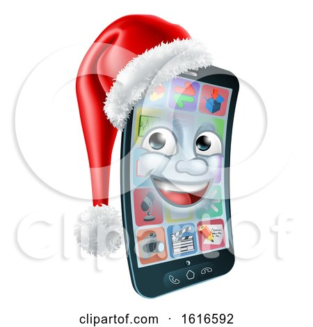 3d Smart Cell Phone Character Wearing a Santa Hat by AtStockIllustration