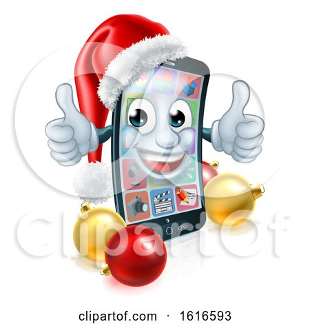3d Smart Cell Phone Character Wearing a Santa Hat and Holding Two Thumbs up by AtStockIllustration