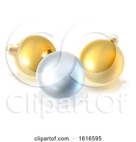 Gold and Silver Christmas Bauble Balls Ornaments by AtStockIllustration