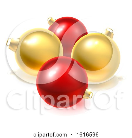 Gold and Red Christmas Bauble Balls Ornaments by AtStockIllustration