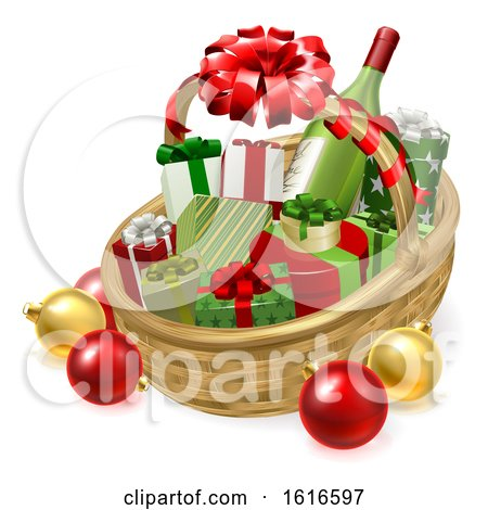 Christmas Hamper Gift Basket by AtStockIllustration