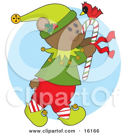 Cute And Friendly Bear In An Elf Costume, Carrying A Candycane With A Red Cardinal On Top Clipart Illustration Image by Maria Bell