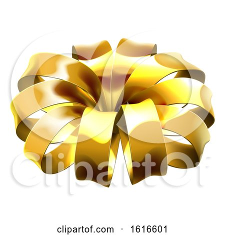 Gold Christmas Bow by AtStockIllustration