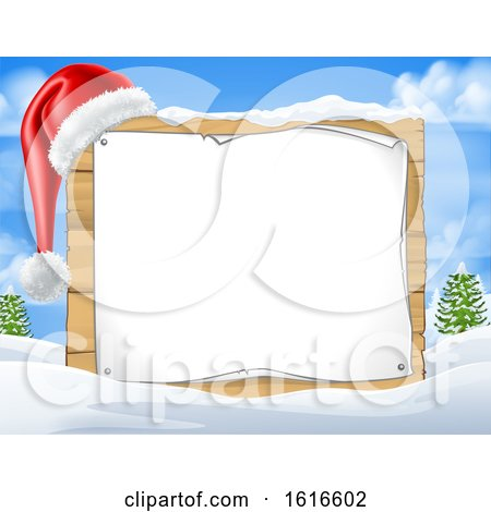 Blank Christmas Sign with a Santa Hat in the Snow by AtStockIllustration