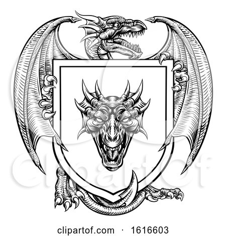 Dragon Heraldic Crest Coat of Arms Emblem Shield by AtStockIllustration