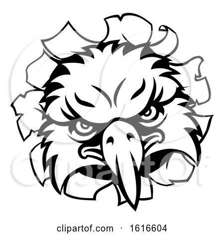 Eagle Cartoon Sports Mascot Tearing Background by AtStockIllustration