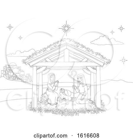 Nativity Christmas Scene Coloring Cartoon by AtStockIllustration