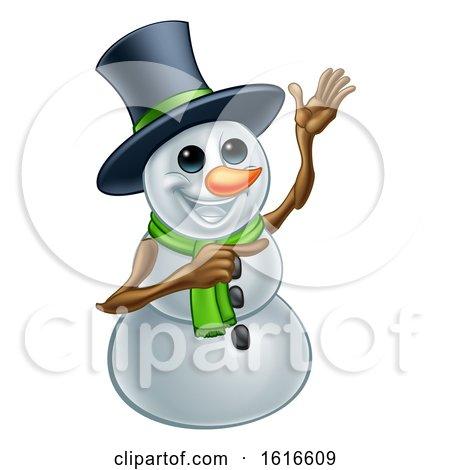 Waving Snowman Wearing a Top Hat by AtStockIllustration