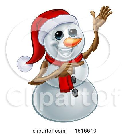 Waving Snowman Wearing a Santa Hat by AtStockIllustration