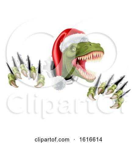 Santa Christmas Hat T Rex Dinosaur by AtStockIllustration