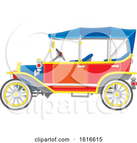 Clipart of a Convertible Antique Car - Royalty Free Vector Illustration by Alex Bannykh