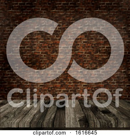 3D Old Wooden Table Against a Defocussed Brick Wall by KJ Pargeter