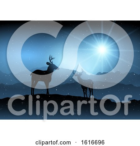 Winter Background with Deer by KJ Pargeter
