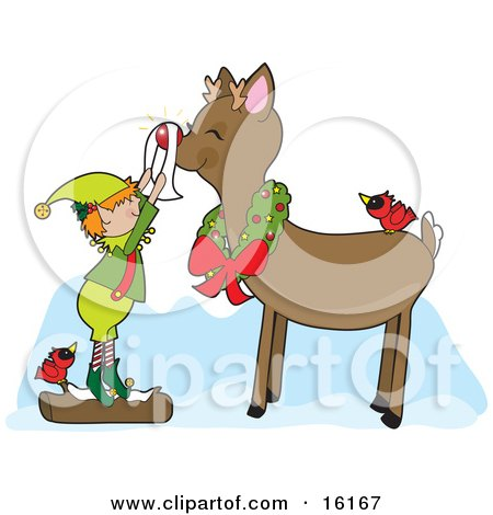 Cute Christmas Elf Standing On A Snow Covered Log By A Red Cardinal Bird, Shining Rudolph The Red Nosed Reindeer's Nose As Rudolph Smiles And Wears A Wreath Around His Neck And A Bird On His Back Clipart Illustration Image by Maria Bell