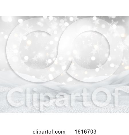 3D Snowy Landscape on a Christmas Snowflakes and Stars Background by KJ Pargeter