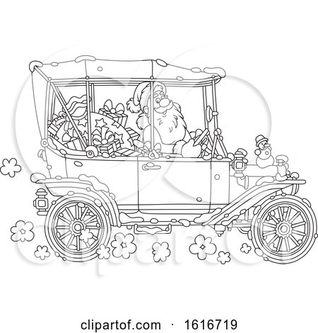 Clipart of Santa Driving a Convertible Antique Car in Black and White - Royalty Free Vector Illustration by Alex Bannykh