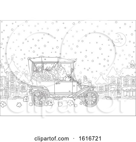 Clipart of Santa Driving a Convertible Antique Car in the Snow - Royalty Free Vector Illustration by Alex Bannykh