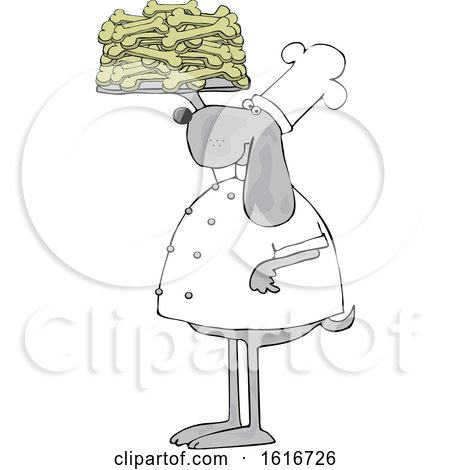 Clipart of a Cartoon Chef Dog Holding up a Tray of Biscuits - Royalty Free Vector Illustration by djart