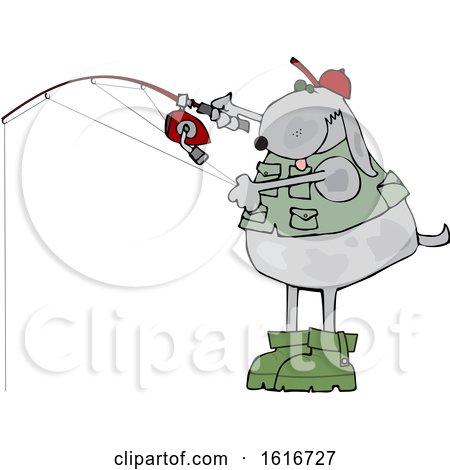 Clipart of a Cartoon Dog Fishing - Royalty Free Vector Illustration by djart