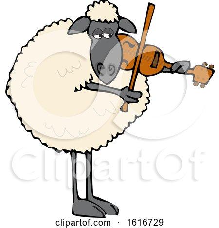 Clipart of a Cartoon Sheep Playing a Violin - Royalty Free Vector Illustration by djart