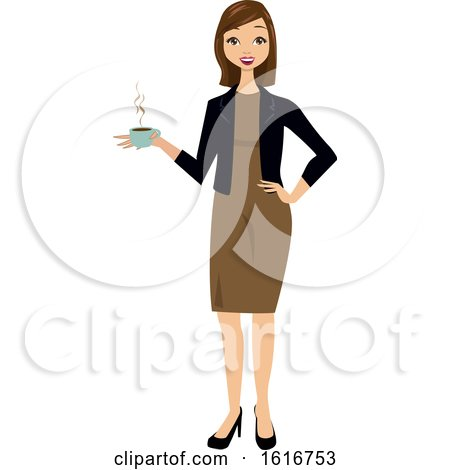 Brunette White Business Woman Holding a Cup of Coffe by peachidesigns