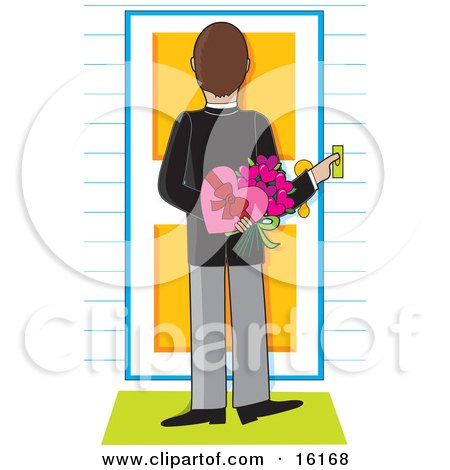 Thoughtful And Romantic Man Pushing A Doorbell And Holding Flowers And Valentine's Day Chocolates Behind His Back While Waiting For His Lovely Woman To Answer The Door Clipart Illustration Image by Maria Bell