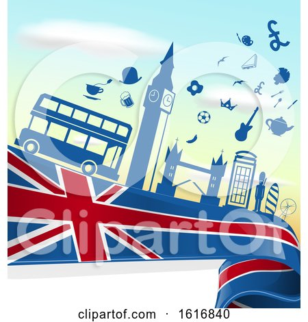 Clipart of a London Flag and Tourism Silhouettes Background - Royalty Free Vector Illustration by Domenico Condello