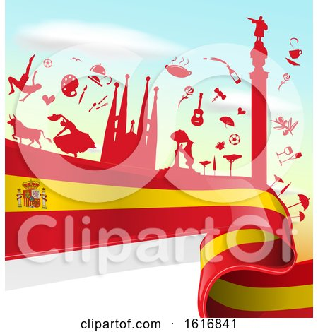 Clipart of a Spanish Flag and Tourism Silhouettes Background - Royalty Free Vector Illustration by Domenico Condello
