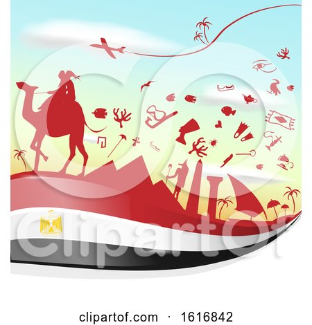 Clipart of an Egyptian Flag and Tourism Silhouettes Background - Royalty Free Vector Illustration by Domenico Condello