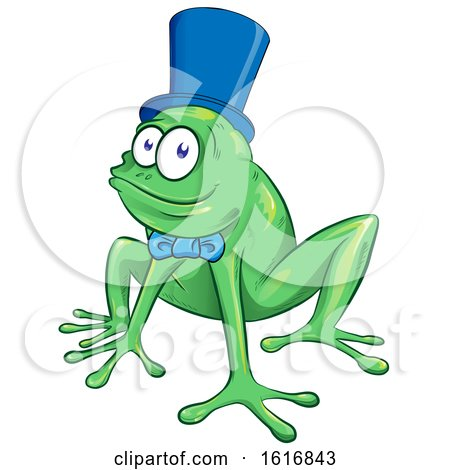 Clipart of a Cartoon Frog Wearing a Bow and Top Hat - Royalty Free Vector Illustration by Domenico Condello