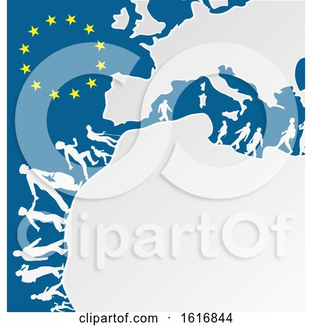 Clipart of Silhouetted Immigrants with a European Map and Stars - Royalty Free Vector Illustration by Domenico Condello