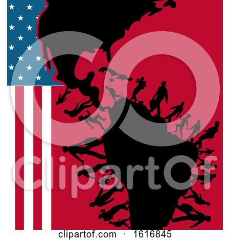 Clipart of Silhouetted Immigrants with an American Flag and Map - Royalty Free Vector Illustration by Domenico Condello