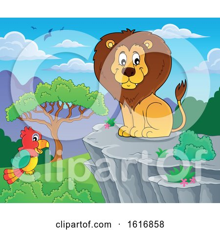 Clipart of a Sitting Male Lion on a Cliff - Royalty Free Vector Illustration by visekart