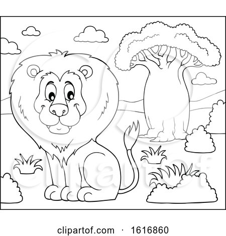 Clipart of a Lineart Sitting Male Lion - Royalty Free Vector Illustration by visekart