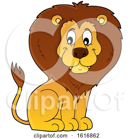 Clipart of a Sitting Male Lion - Royalty Free Vector Illustration by visekart