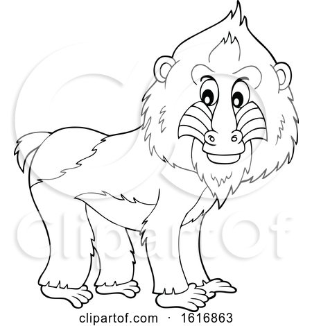 Clipart of a Black and White Mandrill - Royalty Free Vector Illustration by visekart