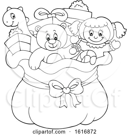 Clipart Of A Black And White Christmas Sack Of Ts And Toys