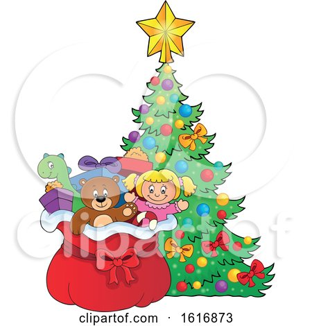 Clipart of a Christmas Sack of Gifts and Toys by a Tree - Royalty Free Vector Illustration by visekart