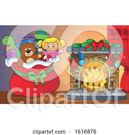 Clipart of a Christmas Sack of Gifts and Toys by a Fireplace - Royalty Free Vector Illustration by visekart