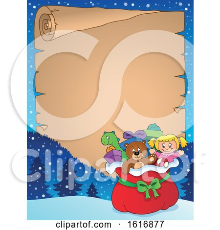 Clipart of a Border with a Christmas Sack of Gifts and Toys - Royalty Free Vector Illustration by visekart