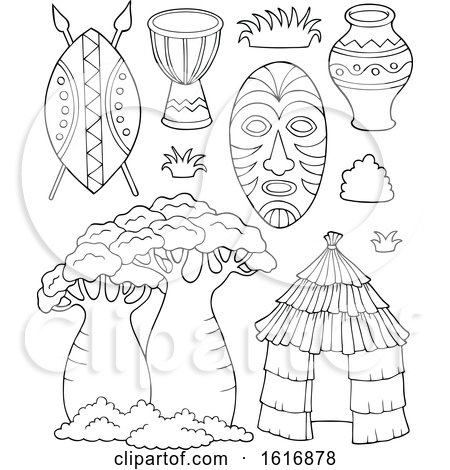 Clipart of Black and White African Icons - Royalty Free Vector Illustration by visekart