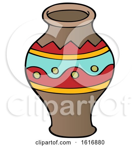 Clipart of a Tribal African Vase - Royalty Free Vector Illustration by visekart