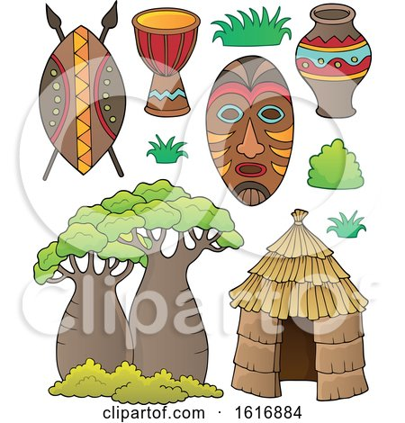 Clipart of Tribal African Items - Royalty Free Vector Illustration by visekart