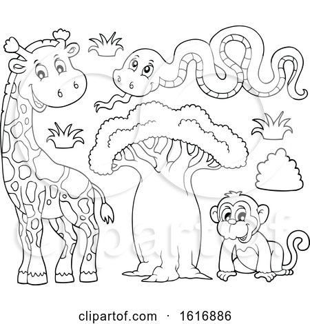 Clipart of a Black and White Monkey Snake and Giraffe - Royalty Free Vector Illustration by visekart