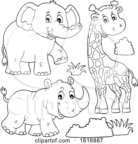 Clipart of a Giraffe Elephant and Rhino - Royalty Free Vector Illustration by visekart