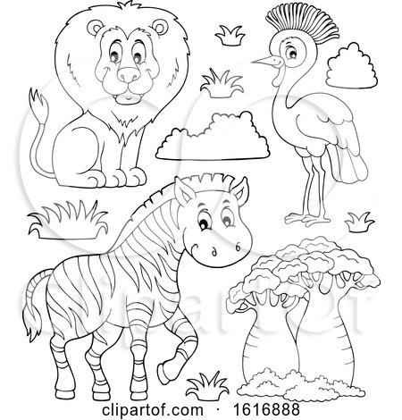Clipart of a Black and White Lion Zebra and Grey Crowned Crane - Royalty Free Vector Illustration by visekart
