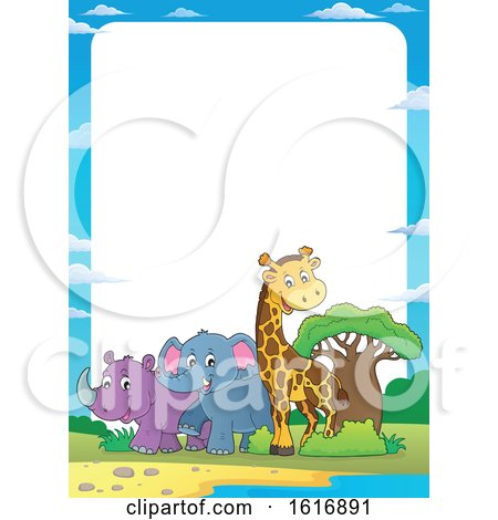 Clipart of a Border with a Giraffe Elephant and Rhinoceros - Royalty Free Vector Illustration by visekart