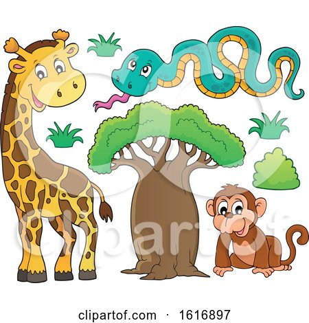 Clipart of a Monkey Snake and Giraffe - Royalty Free Vector Illustration by visekart