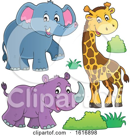 Clipart of a Giraffe Elephant and Rhinoceros - Royalty Free Vector Illustration by visekart