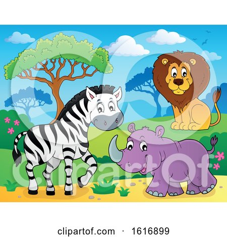 Clipart of a Zebra Rhino and Lion - Royalty Free Vector Illustration by visekart